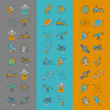 Vector set of space and astronomy icons Stock Image