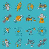 Vector set of space and astronomy icons Stock Photo