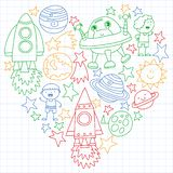 Vector set of space elements icons in doodle style. Painted, colorful, pictures on a sheet of checkered paper on a white stock illustration