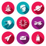 Vector Set of A Space Flight Icons. Spaceport, Outfit, Planet, Research, Glory, Technology, Flying, Autograph, Food. Royalty Free Stock Images