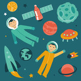 Vector set with space and planets icons Stock Image