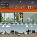 Vector set of space posters, banners in flat style. Vector set of space posters, banners. Astronaut training, space exploration of Mars and the Moon concept flat Stock Photo