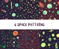 Vector set of pace seamless patterns. Vector set of space seamless patterns with rockets, planets and stars, hand drawn vector illustration Royalty Free Stock Photos