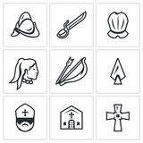 Vector Set of Spanish Conquistador Icons.  Royalty Free Stock Images