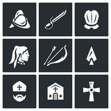 Vector Set of Spanish Conquistador Icons. Helmet, Saber, Armor, Native American, Bow, Arrow, Spear, Bishop, Church Royalty Free Stock Photos