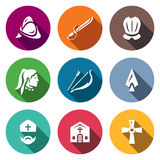 Vector Set of Spanish Conquistador Icons. Helmet, Saber, Armor, Native American, Bow, Arrow, Spear, Bishop, Church Royalty Free Stock Photography