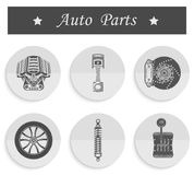 Vector set of spare parts for car. Vector set of parts of the machine Royalty Free Stock Photo