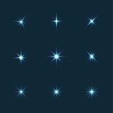 Vector set of sparkle lights stars Stock Photo