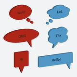 Vector set of speech bubble icons 3d style. Chat, web icons. Vector illustration Stock Image