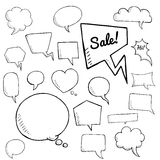 Vector set of speech bubbles, group of doodle speech bubble on white background Stock Photo