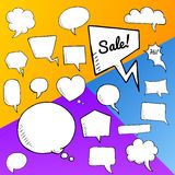 Vector set of speech bubbles, group of doodle speech buble on colorful background Royalty Free Stock Photography