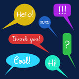 Vector set of speech bubbles, group of doodle speech buble on colorful background Stock Images