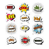 Vector set of speech bubbles with text. Illustration in pop art style. Design elements, clouds, message templates Royalty Free Stock Images