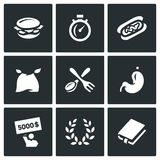 Vector Set of Speed Eating Contest Icons. Burger, Stopwatch, Burrito, Eater, Fork and Spoon, Stomach, Winner, Glory Stock Image