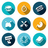 Vector Set of Speed Eating Contest Icons. Burger, Stopwatch, Burrito, Eater, Fork and Spoon, Stomach, Winner, Glory Royalty Free Stock Image
