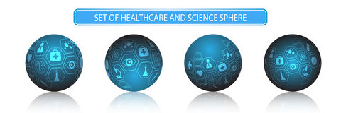 Vector set of sphere health care and science concept Stock Images