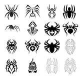 Vector set of spider symbols. Isolated on white background Stock Image