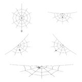 Vector set of spider webs or cobwebs for Halloween design. Element of decoration. Isolated on white background. Set of spider webs or cobwebs for Halloween Stock Image
