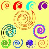 Vector set of spirals and objects from commas in different desig. N. For design and decoration elements Vector Illustration