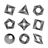 Vector set of spirograph style geometric shapes Stock Images