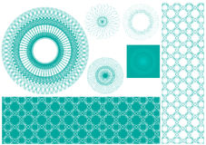 Vector set of spirographs for certificate background Stock Image