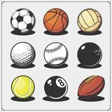 Vector set of sport balls. Black and white Royalty Free Stock Photography