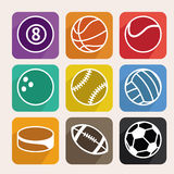 Vector set with sport balls. Cartoon icons in flat style Stock Photos