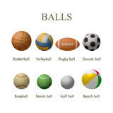 Vector set of sport balls. Design elements and icons isolated on white background Stock Photo