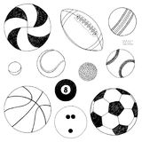 Vector set of sport balls. Hand drawn sketch. Isolated on white background. Vector set of sport balls. Hand drawn colored sketch. Isolated on white background Royalty Free Stock Photography