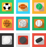Vector. Set of sport balls. Range of sports accessories. Football, baseball, rugby ball, soccer ball, basketball, volleyball, hock. Ey, golf bowling Isolated Stock Photos