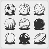 Vector set of sport balls. Black and white Royalty Free Stock Photo