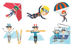 Vector set of sport characters. Royalty Free Stock Photo