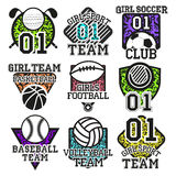 Vector set of sport colorful labels. Design elements, icons, logo, emblems and badges isolated on white background Royalty Free Stock Image