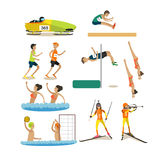 Vector set of sport competitions icons in flat style Stock Photo