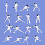 Vector set of sport fencing athletes isolated icons. Fencing silhouette illustration. Sport design elements and icons Royalty Free Stock Images