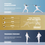 Vector set of sport fencing banners. Games competition concept Royalty Free Stock Images