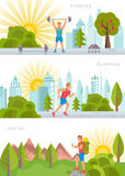 Vector Set Sport and Fitness Banners Stock Image