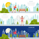 Vector Set Sport and Fitness Banners stock illustration