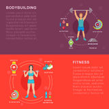 Vector Set Sport and Fitness Banners Stock Photo
