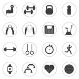 Vector Set of sport and fitness icons. Sport, fitness, gym workout Royalty Free Stock Photos