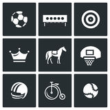Vector Set of Sport Icons. Soccer Ball, Biathlon Target, Archery Target, Crown, Horse Basketball Ring Helmet Bicycle Royalty Free Stock Photos