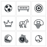 Vector Set of Sport Icons. Soccer, Biathlon, Archery, Chess, Jumping, Basketball, Football, Cycling, Tennis. Stock Photography