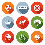 Vector Set of Sport Icons. Soccer, Biathlon, Archery, Chess, Jumping, Basketball, Football, Cycling, Tennis. Stock Image