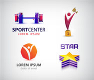 Vector set of sport logos, leadership, man, winner logo. Royalty Free Stock Photo