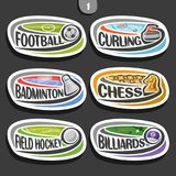 Vector set of sport logos. 6 oval simple badges with flying ball on curved trajectory, sports signs of minimal design with games equipment, original typography Royalty Free Stock Image