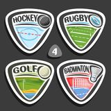 Vector set of sport logos. 4 triangle simple badges with balls, sports signs of minimal design with game equipment for sporting club or school, original type Royalty Free Stock Photo