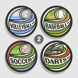 Vector set of sport logos. 4 round simple badges with flying ball on curved trajectory, circle sports signs of minimal design with games equipment, original Royalty Free Stock Photo