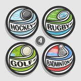 Vector set of sport logos. 4 round simple badges with flying ball on curved trajectory, circle sports signs of minimal design with games equipment, original Stock Image
