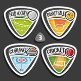 Vector set of sport logos. 4 triangle simple badges with balls, sports signs of minimal design with game equipment for sporting club or school, original type Stock Photography