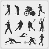 Vector set of sport players silhouettes. Black and white Royalty Free Stock Photos